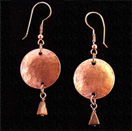 Hammered copper disc earrings with real turquoise