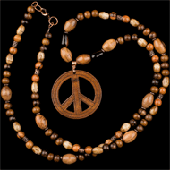 Wood peace sign necklace with olive wood beads